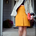 Outfit Of The Yesterday: Gray Tweed + Black + Coral + Mustard + Mint
