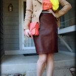 Outfit Of The Yesterday: Camel + Coral + Burgundy + Yellow + Glittery Mint