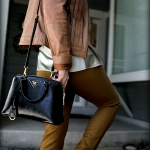 Outfit Of The Yesterday: Tan + Jade + Mustard + Pink (& A Review of the Prada Saffiano Vernice Small Round Top Handle Bag)