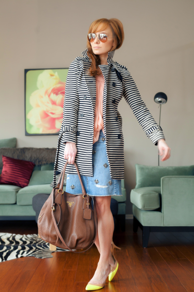 Outfit Of The Yesterday: Loft Jeweled Denim Skirt + A Striped Trench, Too. - t h e (c h l o e) c o n s p i r a c y : fashion + life + style