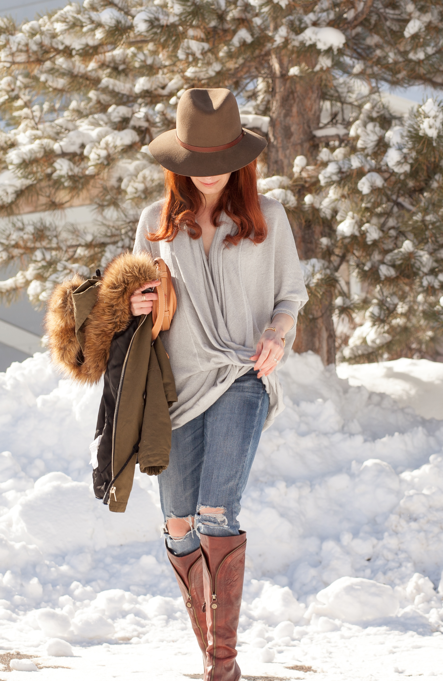 ZARA Olive Faux Fur Parka + We The Free Wrap Sweater + Chloe Mini Marcie + Rag & Bone Floppy Wool Fedora in Pecan + Ray-Ban Aviators via http://thechloeconspiracy.com #ootd #winterstyle