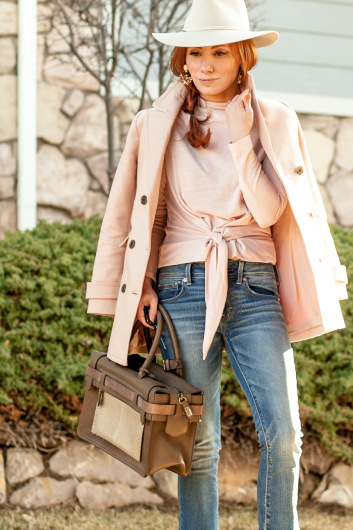 t h e (c h l o e) c o n s p i r a c y: Layers Of Pink (& The Ann Taylor Double Breasted Coat) #anntaylor #pink #ragandbone #kickflares #springstyle #ootd
