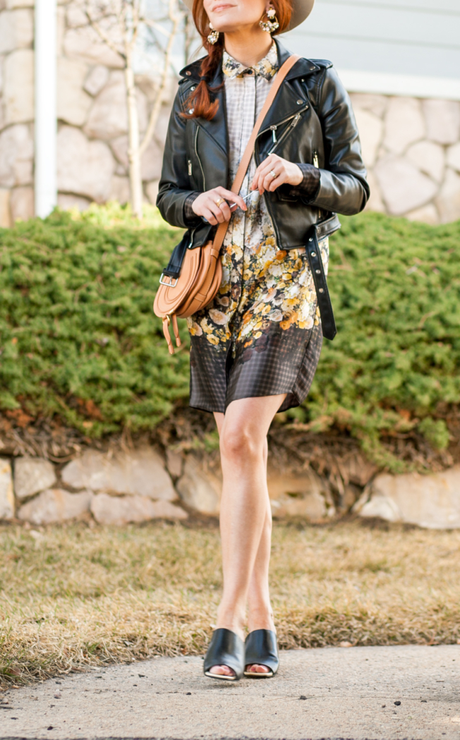 t h e (c h l o e) c o n s p i r a c y: A Floral Dress + A Moto Jacket #ootd #springstyle