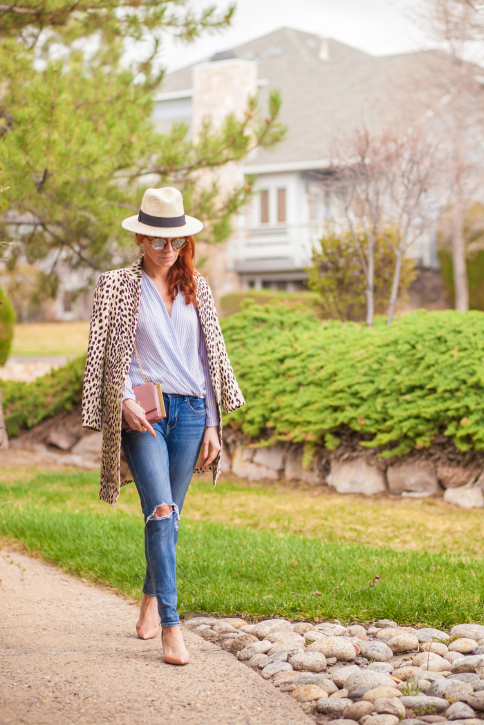 t h e (c h l o e) c o n s p i r a c y: Leopard Coat + Ann Taylor Blue Striped Wrap Blouse + Panama Hat + Ripped Jeans #ootd #springstyle #panamahat