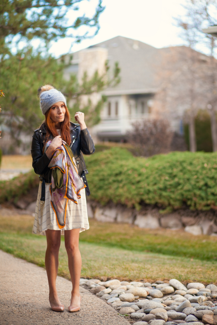 t h e (c h l o e) c o n s p i r a c y: Lou & Grey Striped Signaturesoft Swing Dress + Moto Jacket + Pom Beanie #ootd #stripeddress #fallstyle #winterstyle
